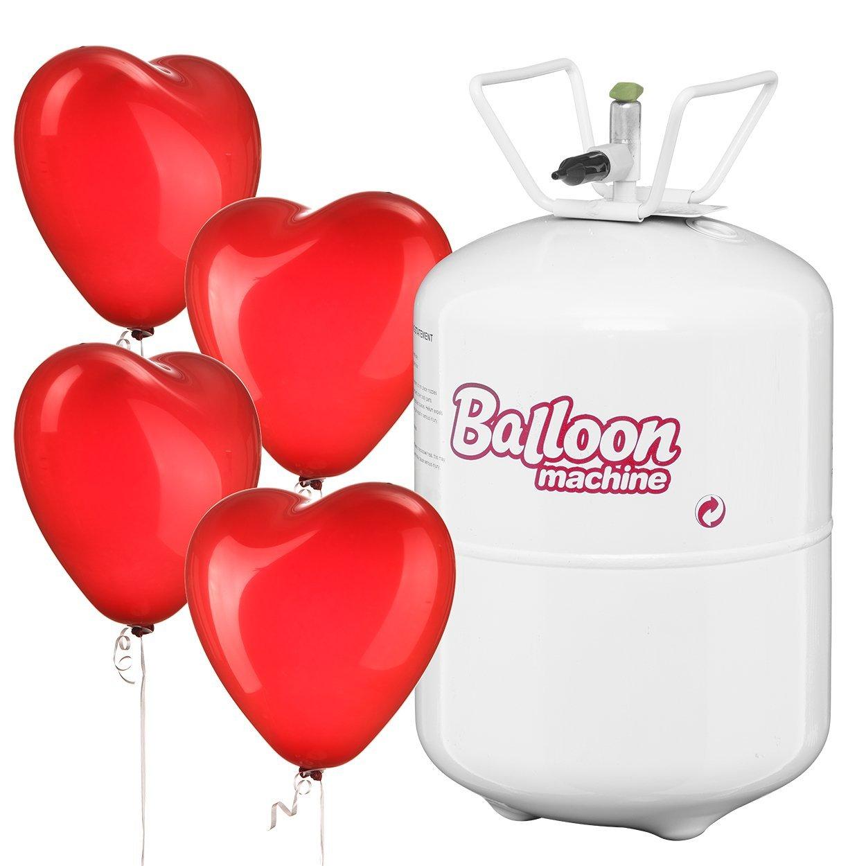 helium beh lter mit 55 roten herz luftballons helium kaufen. Black Bedroom Furniture Sets. Home Design Ideas